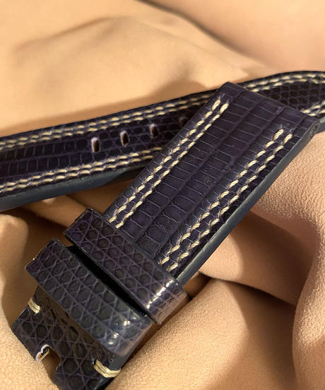 リザード レザー 腕時計ベルト ネイビー 24mm-22mm  LIZ-57