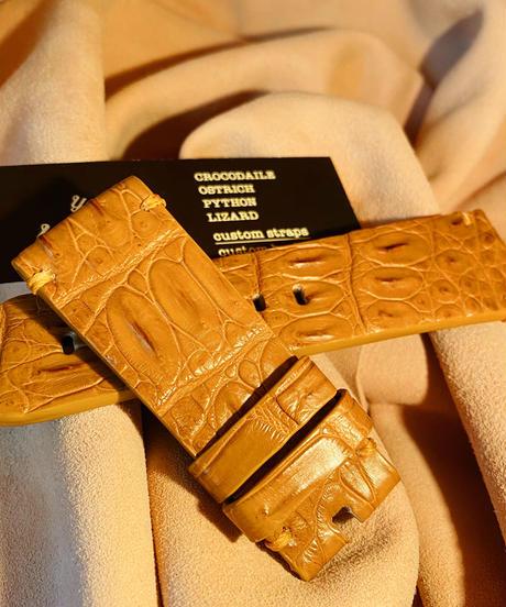 クロコダイル レザー 腕時計ベルト タンブラウン 26mm-24mm CRO-154