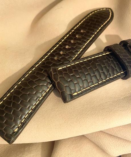 ビーバー レザー 腕時計ベルト ダークブラウン 22mm-20mm  BEA-5