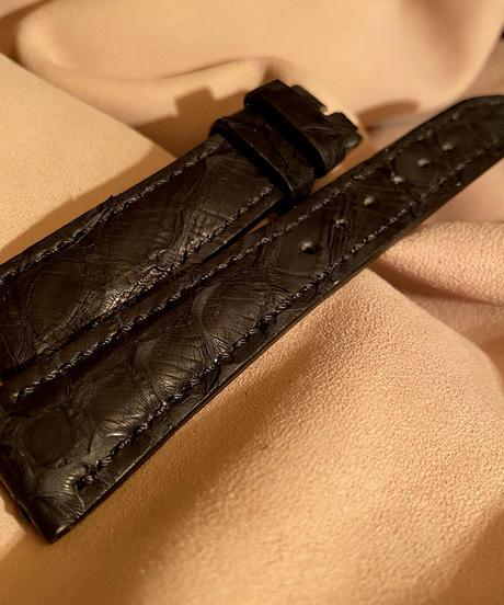 パイソン レザー 腕時計ベルト ブラック 20mm-16mm PYT-35