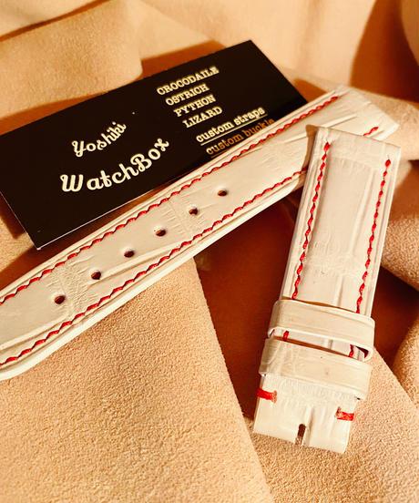 クロコダイル レザー 腕時計ベルト ホワイト 20mm-18mm CRO-147