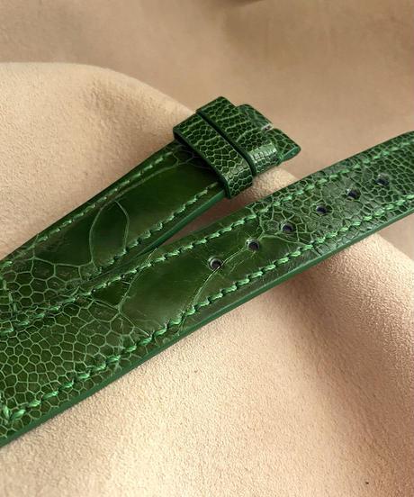 オーストリッチレザー 腕時計ベルト グリーン (ラグ幅20mm - バックル幅18mm) ost-77