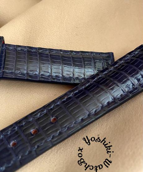 リザード レザー 腕時計ベルト ネイビー (ラグ幅18mm - バックル幅16mm) liz-88