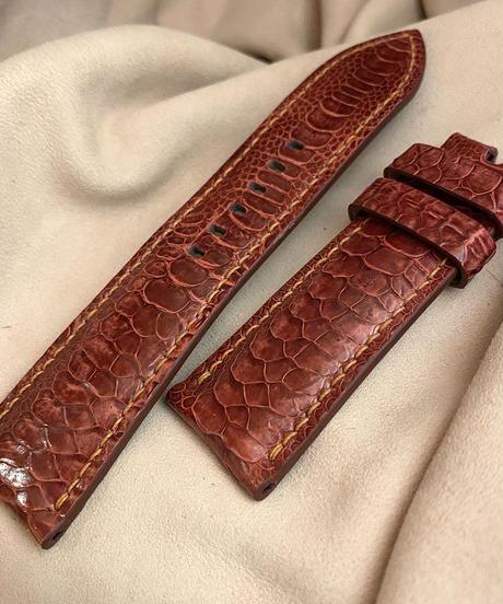 チキン レザー 腕時計ベルト レッド (ラグ幅26mm - バックル幅22mm) chi-28
