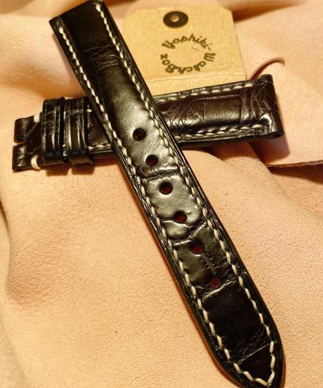 クロコダイル レザー ブラック 18mm-16mm CRO-107