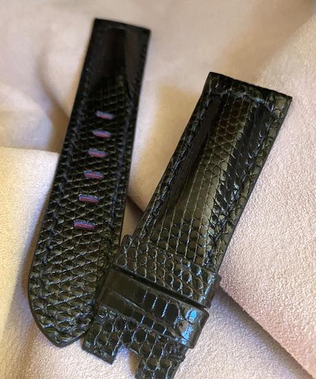 リザード レザー 腕時計ベルト ブラック (ラグ幅22mm - バックル幅20mm) liz-59