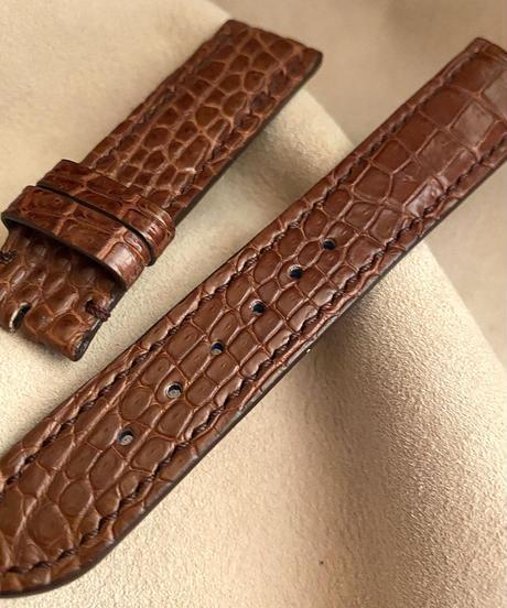 クロコダイル レザー 腕時計ベルト ブラウン (ラグ幅20mm - バックル幅18mm) cro-374
