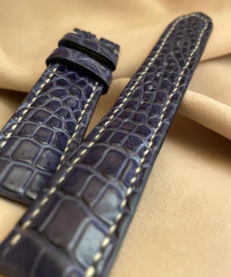 cro-567 クロコダイル レザー 腕時計 ベルト ブルー (ラグ幅20mm - バックル幅18mm)
