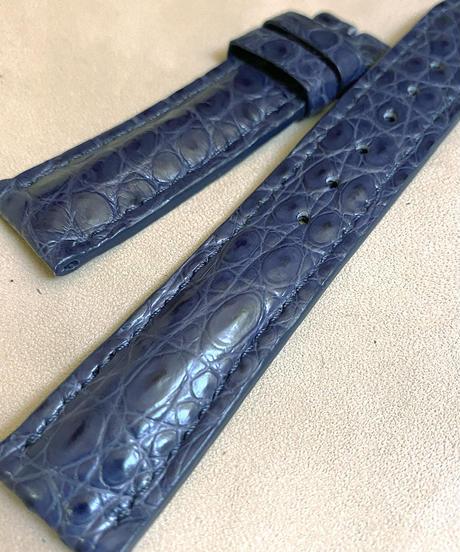 クロコダイル レザー 腕時計ベルト ブルー (ラグ幅20mm - バックル幅18mm) cro-490