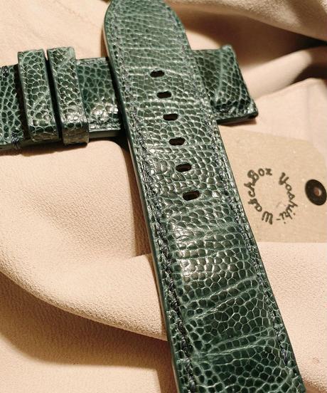 オーストリッチ レザー グリーン 26mm-24mm OST-27
