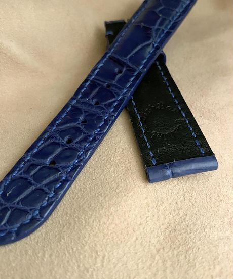 クロコダイル レザー 腕時計ベルト ブルー (ラグ幅20mm - バックル幅18mm) cro-367