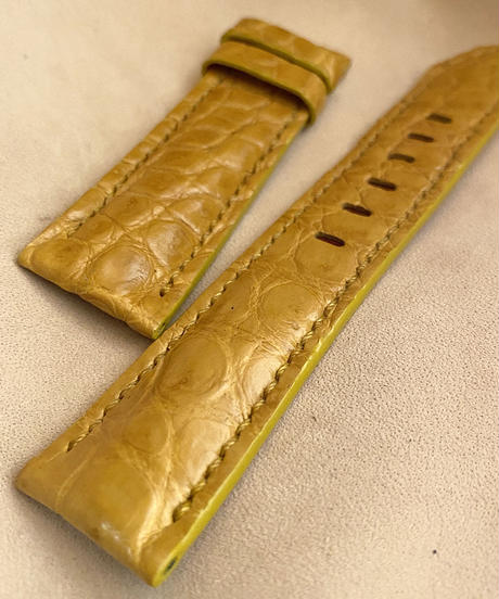クロコダイル レザー 腕時計ベルト タンブラウン (ラグ幅22mm - バックル幅20mm) cro-491
