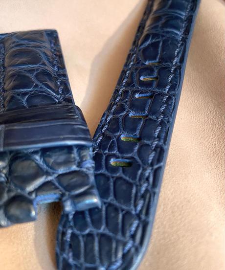 クロコダイル 腕時計ベルト ブルー 22mm-20mm CRO-323