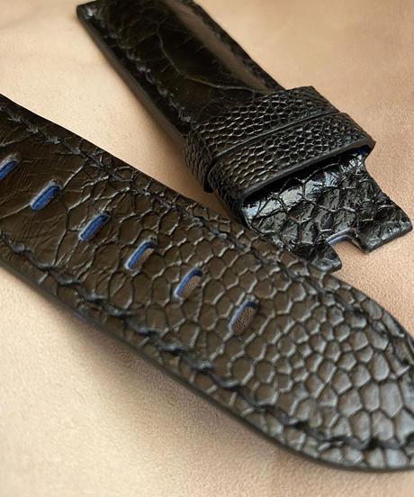 オーストリッチレザー 腕時計ベルト グレー (ラグ幅24mm - バックル幅22mm) ost-108