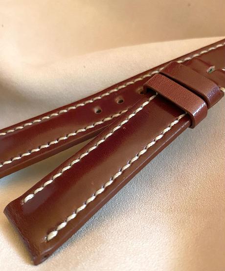 cod-46 コードバン レザー 腕時計ベルト レッドブラウン (ラグ幅18mm - バックル幅16mm)