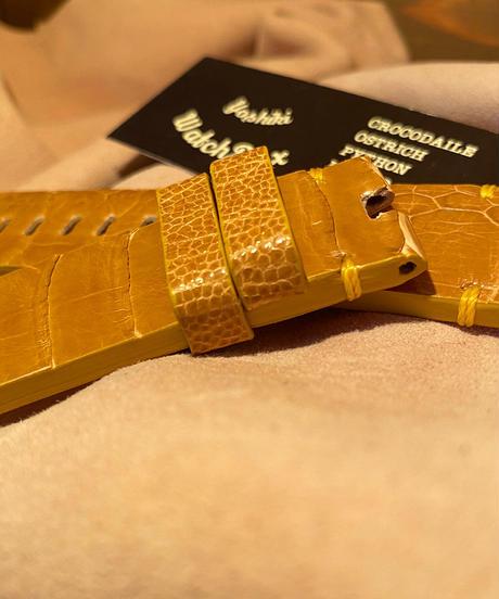 オーストリッチ レザー 腕時計ベルト タンブラウン 24mm-22mm OST-58