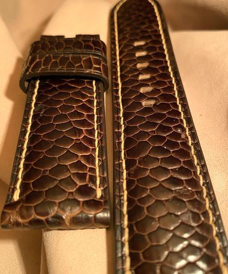 ビーバー レザー 腕時計ベルト ダークブラウン 24mm-22mm  BEA-1