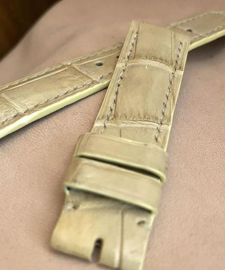 cro-577 クロコダイル レザー 腕時計 ベルト クリーム (ラグ幅20mm - バックル幅18mm)