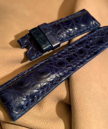 クロコダイル レザー 腕時計ベルト  ブルー 24mm-22mm CRO-227