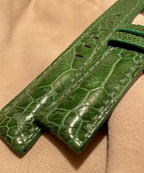 オーストリッチ レザー 腕時計ベルト グリーン 22mm-20mm OST-67