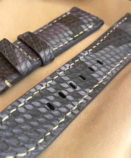 pyt-69 パイソン レザー 腕時計ベルト ブルー (ラグ幅26mm - バックル幅22mm)