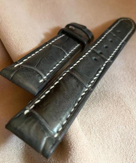 クロコダイル レザー 腕時計ベルト グレー (ラグ幅18mm - バックル幅16mm) cro-369