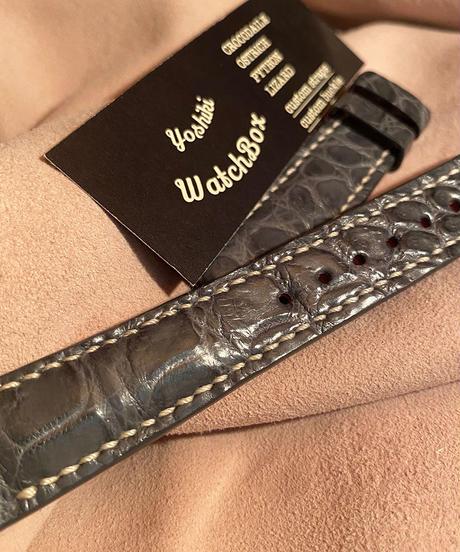 クロコダイル レザー 腕時計ベルト グレー 18mm-16mm CRO-196
