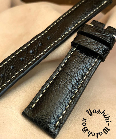 ost-115 オーストリッチレザー 腕時計ベルト ブラック (ラグ幅20mm - バックル幅18mm)