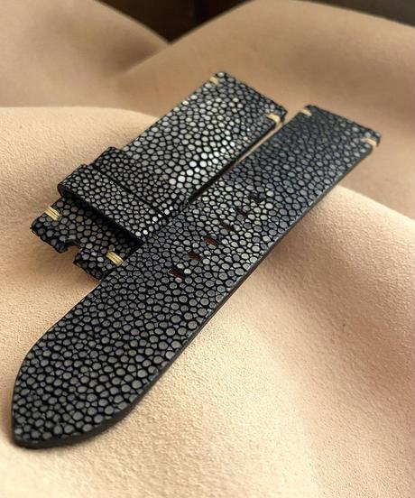 スティングレイ  腕時計ベルト ブラック (ラグ幅24mm - バックル幅22mm)  sti-34