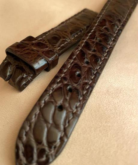 クロコダイルレザー 腕時計ベルト ダークブラウン (ラグ幅18mm - バックル幅16mm) cro-346