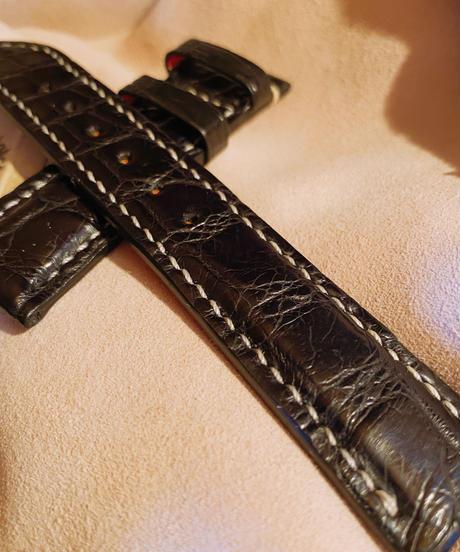 クロコダイル レザー 腕時計ベルト ブラック 20mm-18mm CRO-132
