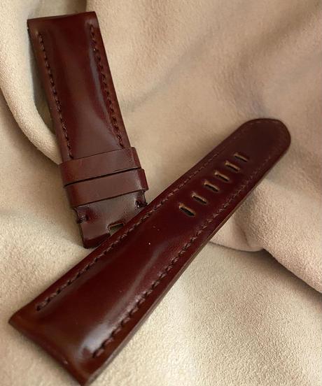 コードバン レザー 腕時計ベルト マホガニー (ラグ幅22mm - バックル幅20mm) cod-03