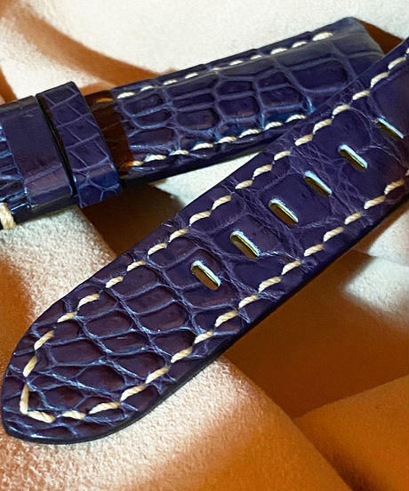 クロコダイル レザー 腕時計ベルト ブルー 22mm-20mm CRO-214