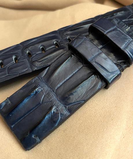 cro-533 クロコダイル レザー 腕時計ベルト ネイビー (ラグ幅22mm - バックル幅22mm)