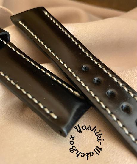 cod-61 コードバン レザー 腕時計ベルト ブラック (ラグ幅21mm - バックル幅18mm)