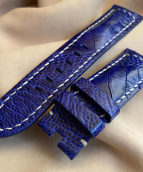 オーストリッチレザー 腕時計ベルト ライトブルー (ラグ幅24mm - バックル幅22mm) ost-91