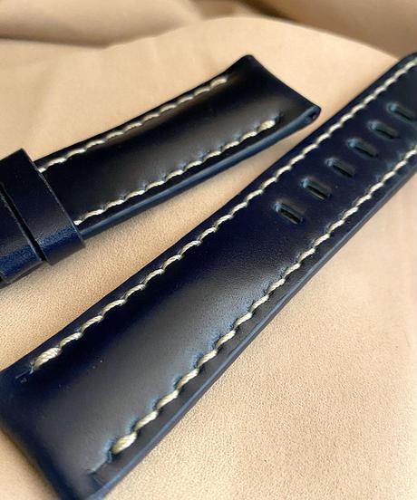 cod-55 コードバン レザー 腕時計ベルト ブルー (ラグ幅22mm - バックル幅20mm)