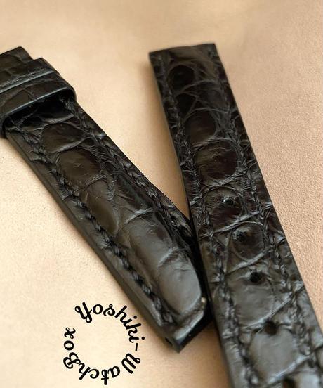 クロコダイル レザー 腕時計ベルト ブラック (ラグ幅18mm - バックル幅16mm) cro-498