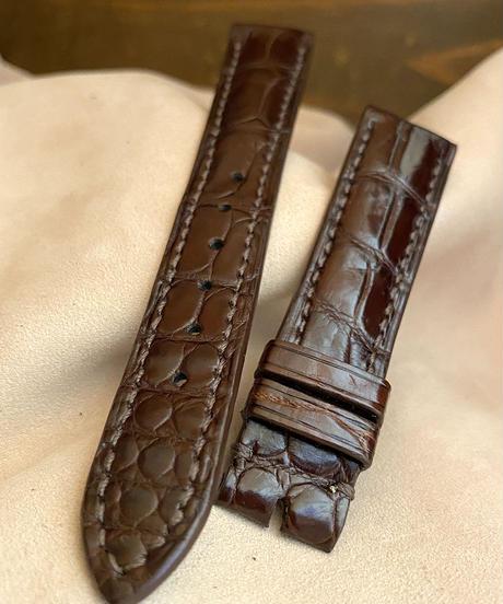 cro-543 クロコダイル レザー 腕時計ベルト ダークブラウン (ラグ幅18mm - バックル幅16mm)