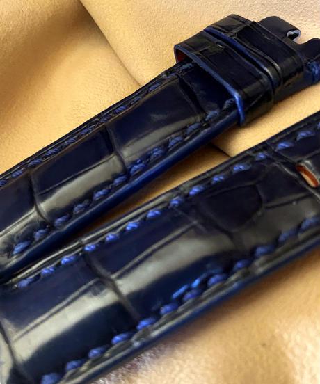 クロコダイル 腕時計ベルト ブルー 22mm-20mm CRO-289