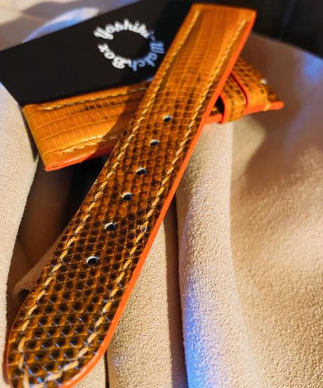 リザード レザー 腕時計ベルト オレンジ 20mm-18mm LIZ-24