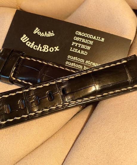 クロコダイル レザー 腕時計ベルト ブラック 22mm-20mm CRO-187