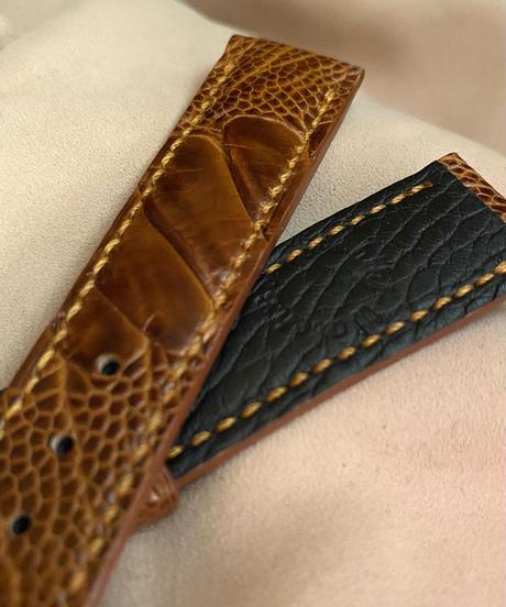 ost-120 オーストリッチレザー 腕時計ベルト ブラウン (ラグ幅20mm - バックル幅18mm)