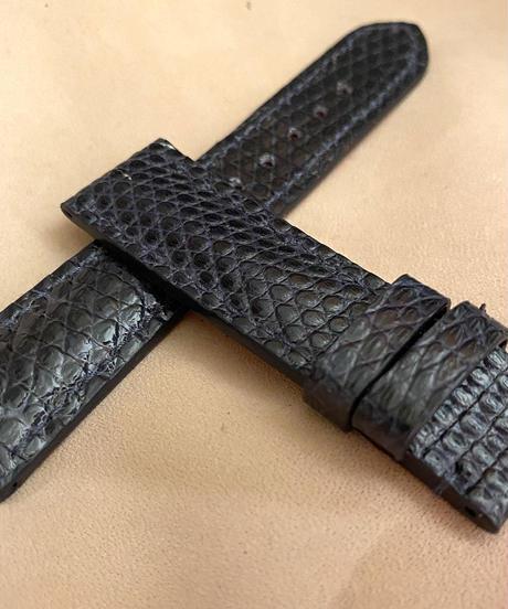 リザード レザー 腕時計ベルト ネイビー (ラグ幅20mm - バックル幅18mm) liz-81