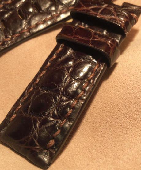 クロコダイル 腕時計ベルト ダークブラウン 24mm-22mm CRO-85