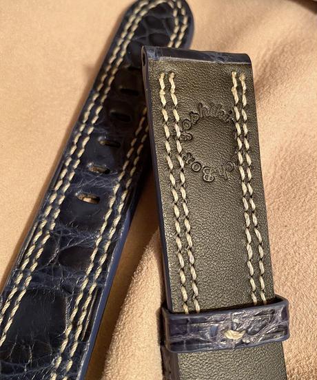 クロコダイル レザー 腕時計ベルト ブルー 22mm-20mm CRO-254