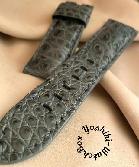 cro-564 クロコダイル レザー 腕時計 ベルト グレー (ラグ幅24mm - バックル幅22mm)