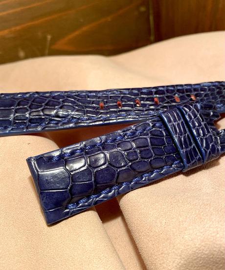 クロコダイル レザー 腕時計ベルト  ネイビー 22mm-20mm CRO-237