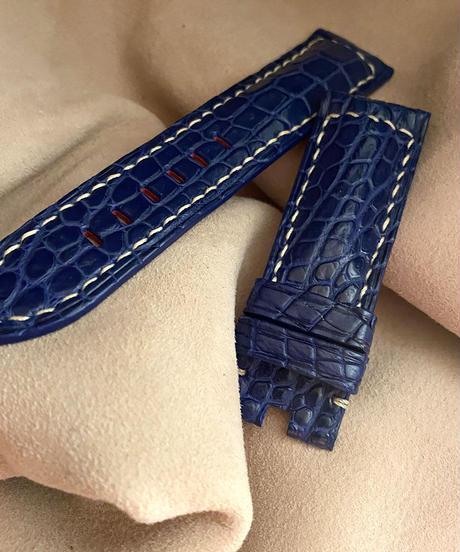 クロコダイル レザー 腕時計ベルト ブルー (ラグ幅24mm - バックル幅22mm) cro-362