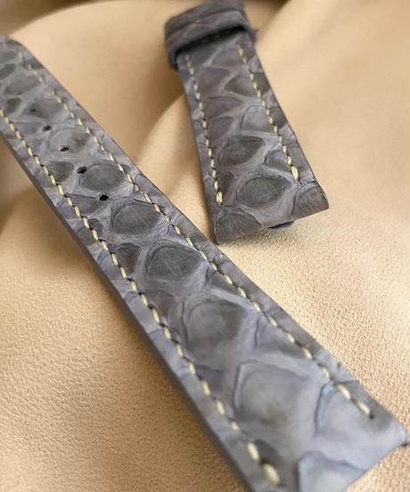 pyt-83 パイソン レザー 腕時計ベルト ライトブルー (ラグ幅18mm - バックル幅16mm)